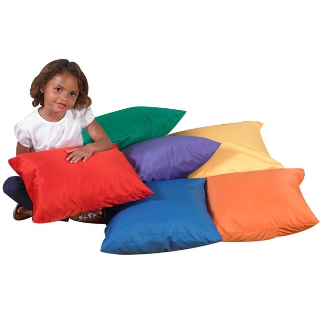 Childrens Factory Square Floor Pillows W/ Polyester Cover Set Of 6 ...
