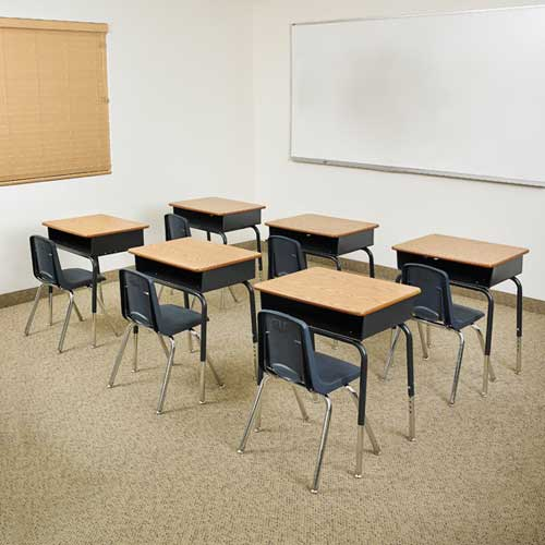 classroom desks and chairs. Stock #74467 - ECR4Kids ELR24101PS20X18-OKNV Classroom Package- 20 Open Front Desks \u0026 Chairs (18\ And T