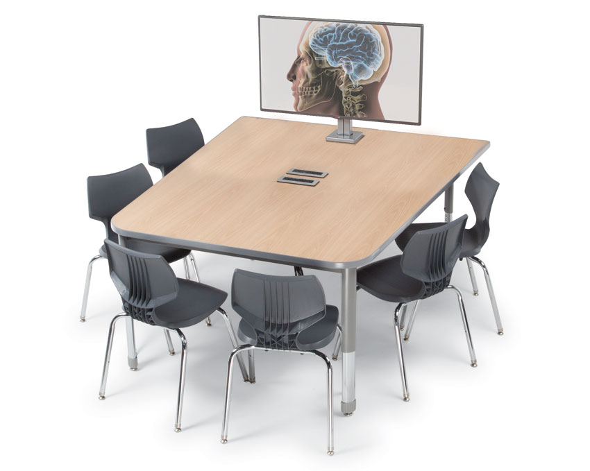 Multimedia Tables Powered Media Tables Worthington Direct - Trapezoid conference table