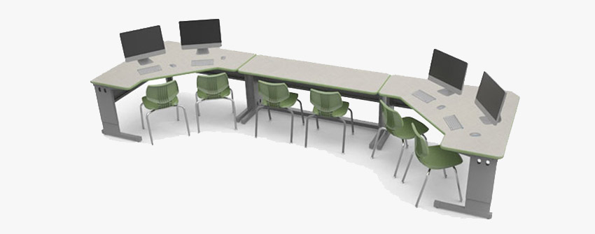 Computer table lab station for multi-users