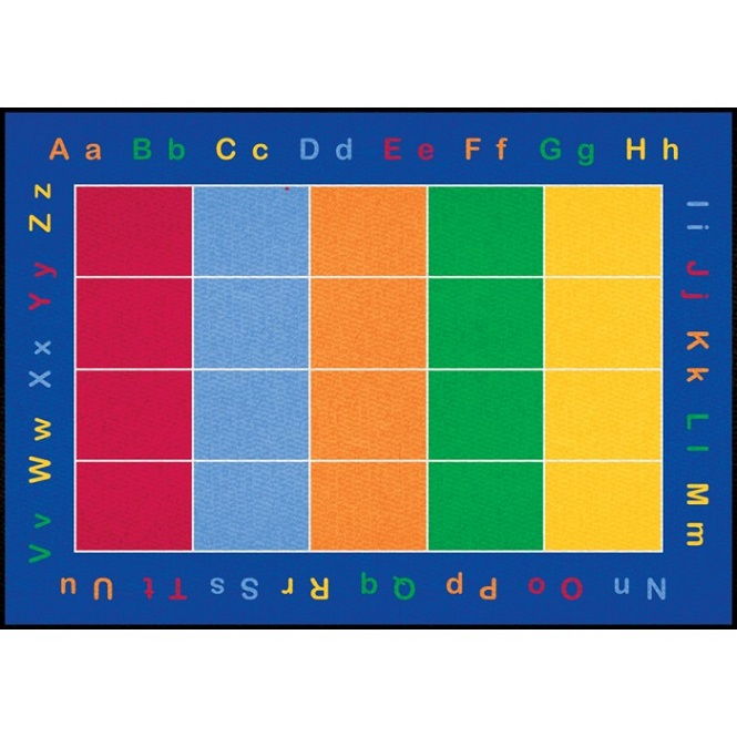 "Alphabet Rugs For Preschool: Learning Carpets Abc Squares Carpet (5'-10"" X 8'-5"