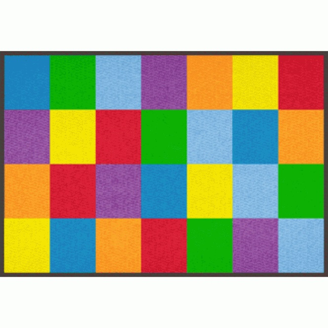 Learning Carpets Colorful Grid Carpet 5 10 Quot X 8 5 Quot Rectangle Cpr550 Shapes Amp Activities