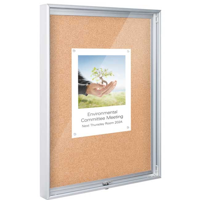94caa Economy Enclosed Cork Bulletin Board Cabinet