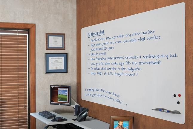 Elemental Frameless Dry Erase Whiteboard By Best Rite
