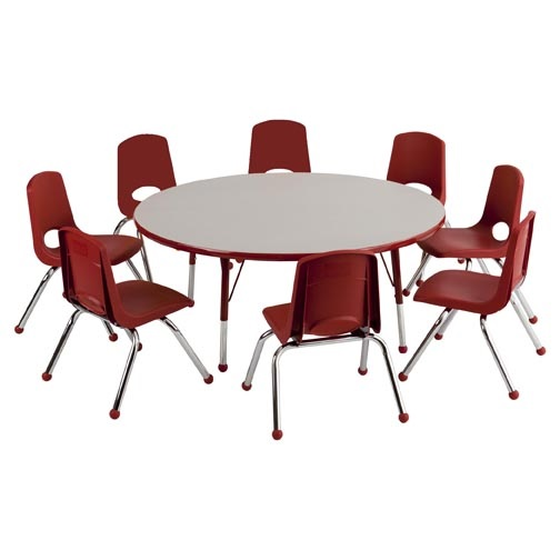 Ecrkids Round Activity Table Chair Package Round W Eight - Conference room table and chairs set