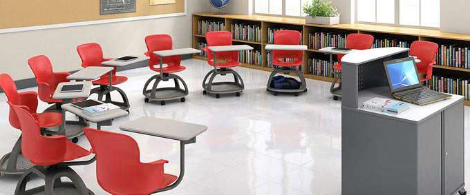 Semi Circle Classroom Layout Design with Haskell Ethos Chairs