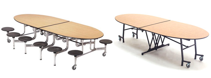 Oval Cafeteria Tables