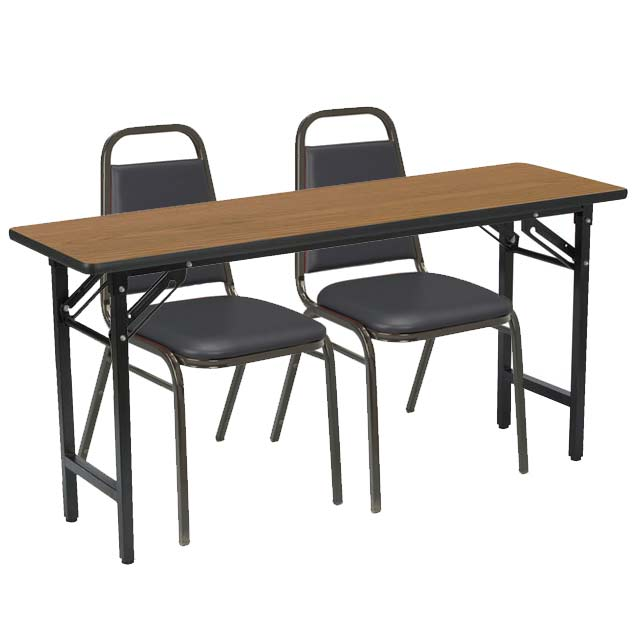 Kfi Seating Folding Training Table With Two Im Padded Stack - Foldable training table