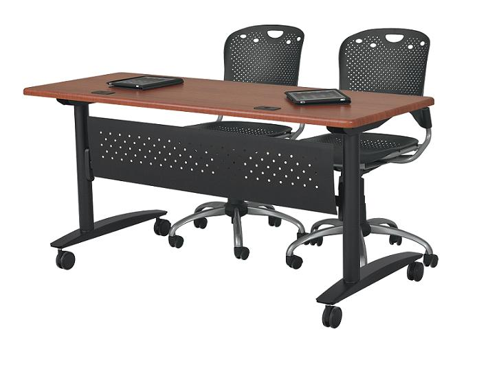 balt lumina flip top folding table w modesty panel 72 x 24 90067 66612 training tables. Black Bedroom Furniture Sets. Home Design Ideas