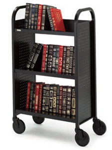 boo327-singlesided-upsable-booktruck-w-3-slanted-shelves-27-w