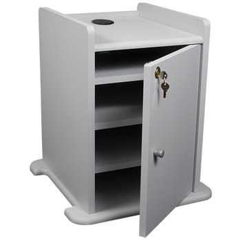 8975934409-gray-sitstand-standard-projector-cart-with-security-cabinet