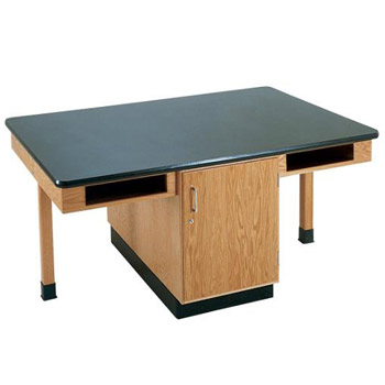 c2301k-fourstudent-science-table-w-4-book-compartments-black-plastic-laminate-top-doors-only