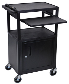 lp42cle-threeshelf-plastic-av-cart-w-cabinet-electric-front-shelf-42-h