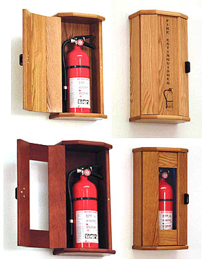 Fire Extinguisher Oak Cabinet By Wooden Mallet