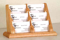 bcc26-6-pocket-oak-business-card-rack