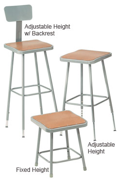 All 6300 Series Square Seat Science Lab Stools By Nps
