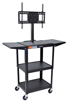 avj42dl-lcd-adjustable-height-flat-panel-cart-w-drop-leaf-shelves