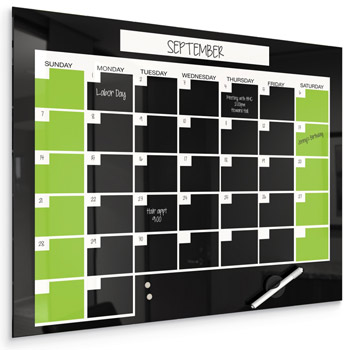 All Black Glass Dry Erase Monthly Calendar By BestRite Options - Black dry erase calendar