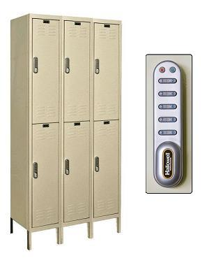 uel3288-2-digitech-double-tier-3-wide-lockers-w-electronic-lock-unassembled-12-w-x-18-d-x-36-h