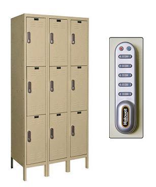 digitech-triple-tier-3-wide-lockers-w-electronic-lock-by-hallowell