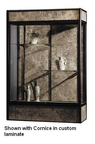 93c85-elite-freestanding-display-case-w-cornice-and-light-5-w