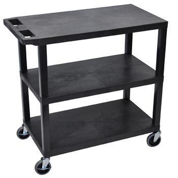 ec222-b-e-series-flat-shelf-cart-standard-w-3-shelves-black