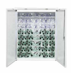 Sanitizing Monitor Storage Cabinet For Safety Glasses By Shain
