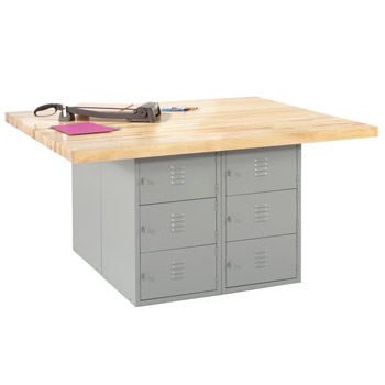 wb12a-4v-four-station-steel-workbench-w-12-horizontal-locker-base-4-vises