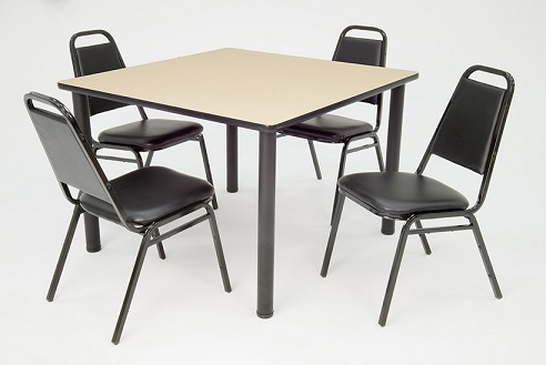 kee-base-cafe-table-and-four-vinyl-stack-chairs-by-regency