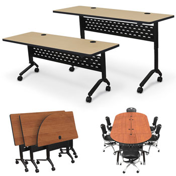 All Adjustable Height Nido Flip Top Conference Training Tables By - Adjustable height training table