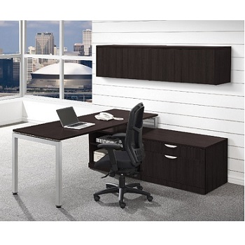 Ndi Office Furniture Elements L Shaped Desk W Wall Storage Plt16 L Shaped Desks