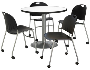 silver-base-cafe-table-with-four-mobile-stack-chairs-by-kfi
