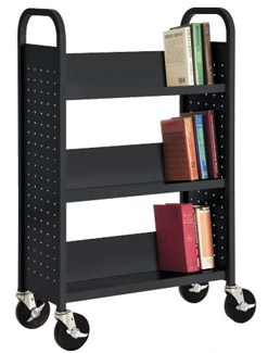 sl327-book-truck-with-3-slant-shelves