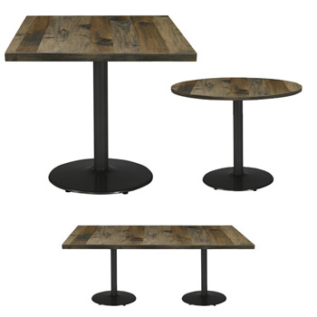 Urban Loft Round Cast Iron Base Cafe Tables By KFI
