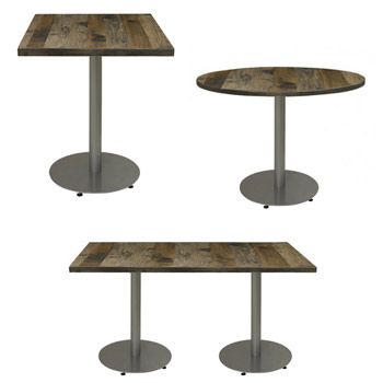 Urban Loft Round Steel Plate Base Cafe Tables By KFI