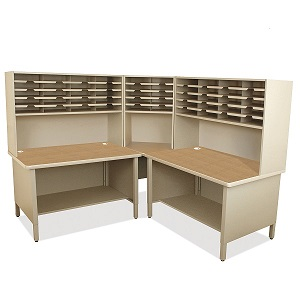 util0056-50-slot-corner-mailroom-sorter-w-shelves