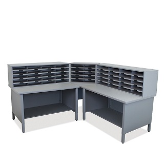 util0062-50-slot-corner-mailroom-sorter-w-shelves