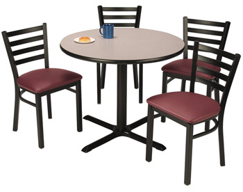 x-base-cafe-table-with-four-im3316-padded-ladder-back-chairs-by-kfi