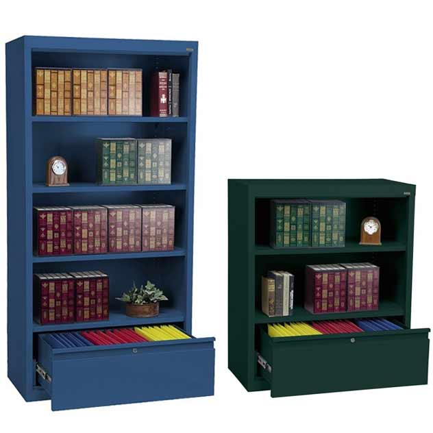 bookcase-with-file-drawer - All Metal Bookcases W/ File Drawer By Sandusky Lee Options