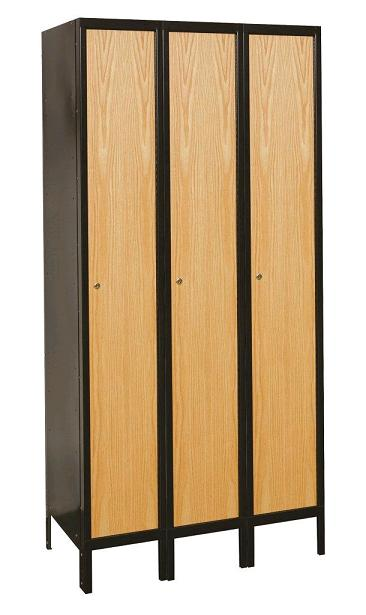 Hallowell metal wood hybrid single tier 3 wide locker for Wood lockers with doors