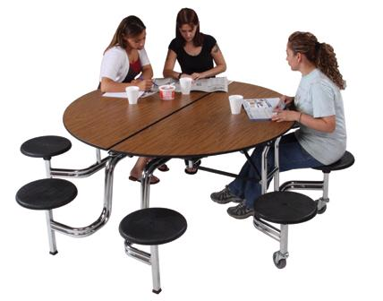 Genial Mobile Stool Table W/ Round Top By AmTab, MSR608   Stock #15030