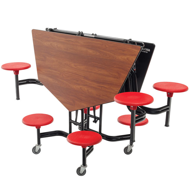 Amtab Mobile Stool Table W Octagonal Top Msoc608