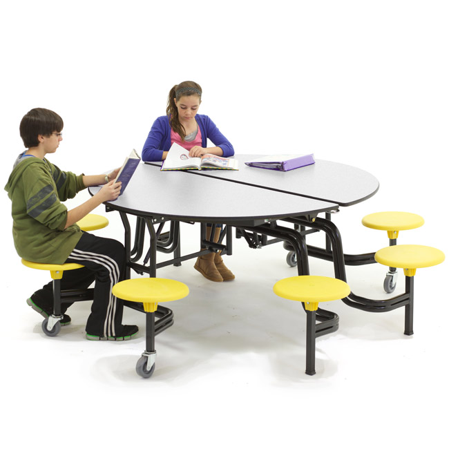 Round Cafeteria Table with Stools