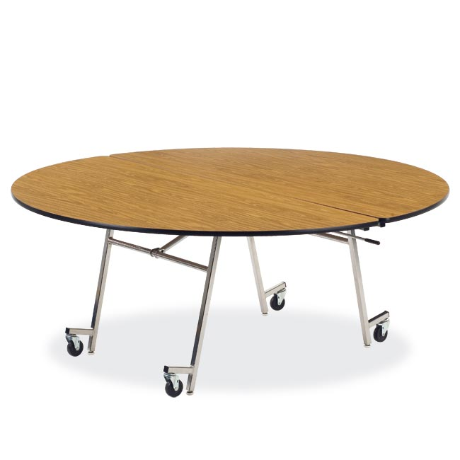 Virco Mobile Folding Shape Cafeteria Table 72 Round Mt72r