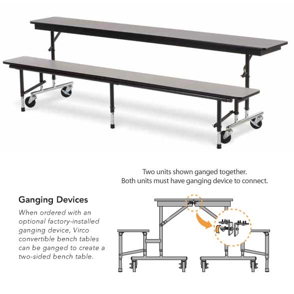 Mtc8g Adjustable Convertible Bench Table With Ganging Device