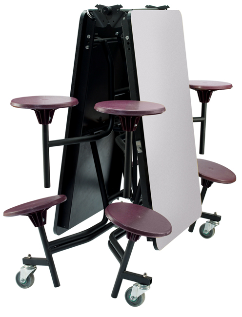 National Public Seating Mobile Stool Cafeteria Table W