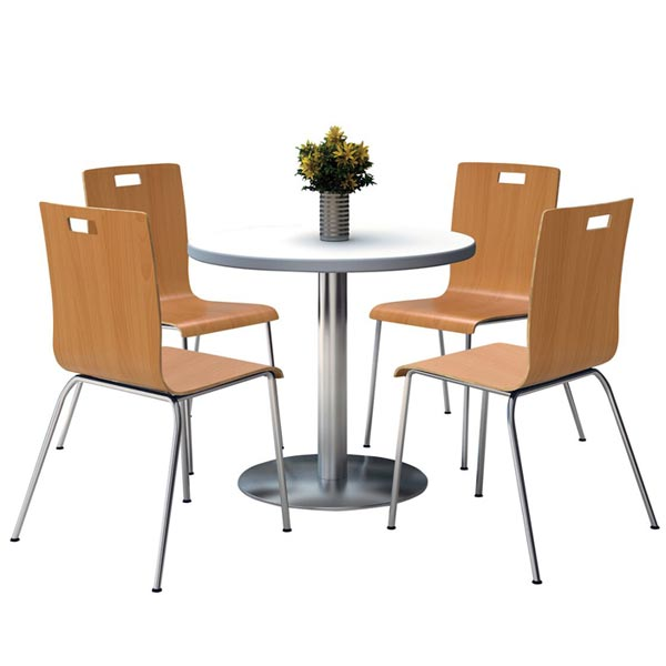 Stock #97495 - KFI Seating T36RD-XX-9222-XX Silver Base Cafe 36  Round Table With Four Jive Stack Chairs  sc 1 st  Worthington Direct & Kfi Seating Silver Base Cafe 36