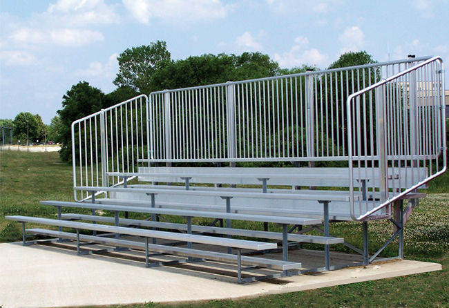 nb-0515avpstd-5-row-standard-bleacher-with-vertical-picket-guardrail-single-foot-plank-50-seat