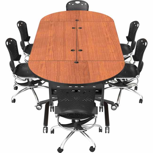 Balt Adjustable Height Nido Flip Top Table Round W X D - Round conference table for 12