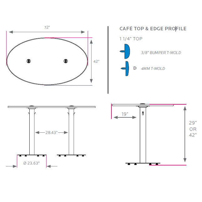 Shipping Details - Cafe table dimensions